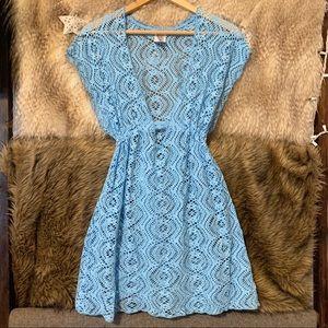 Becca Blue Lace Swim Coverup Dress